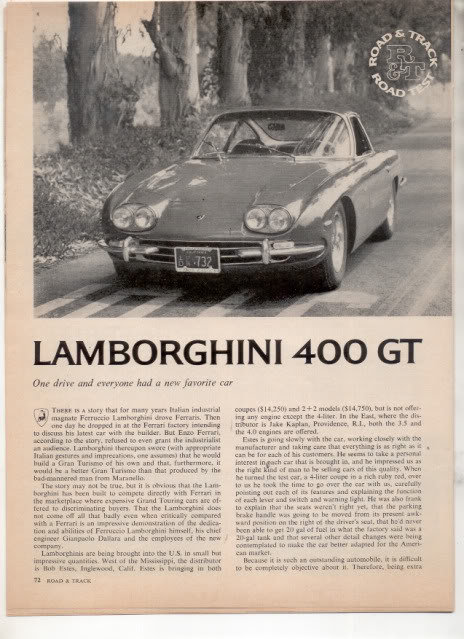 1966 1967 LAMBORGHINI 400 GT ROAD TEST AD 4-PAGE