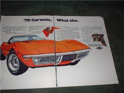 1970 CHEVY CAMARO CORVETTE VINTAGE CAR AD 4-PAGE - $13.59