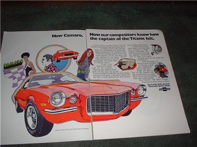 1970 CHEVY CAMARO CORVETTE VINTAGE CAR AD 4-PAGE