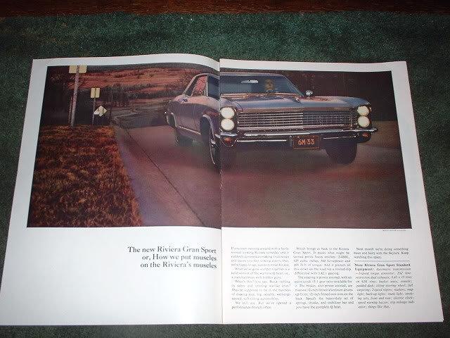 1965  BUICK RIVIERA GRAN SPORT VINTAGE CAR AD