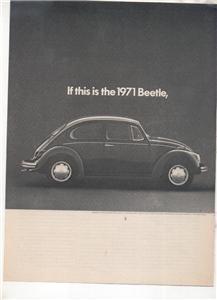 1971 VOLKSWAGEN BUG BEETLE VINTAGE CAR AD 2-PAGE