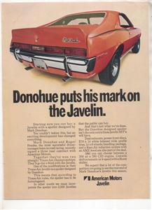 1970 1971 JAVELIN MARK DONOHUE CAR AD