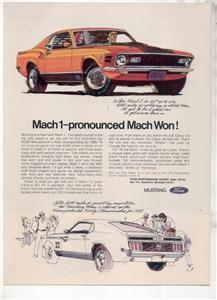 1970 MUSTANG MACH 1 VINTAGE CAR AD