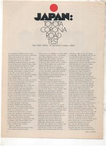 1970 1971 TOYOTA CORONA VINTAGE ROAD TEST AD 4-PAGE