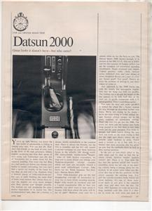 1970 1971 DATSUN 2000 VINTAGE ROAD TEST AD 5-PAGE
