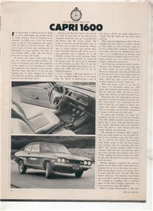 1970  CAPRI 1600 VINTAGE ROAD TEST AD