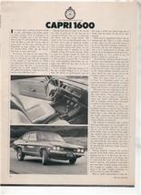 1970  CAPRI 1600 VINTAGE ROAD TEST AD - $7.99