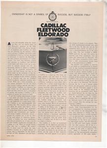1970 1971 CADILLAC FLEETWOOD ELDORADO ROAD TEST AD
