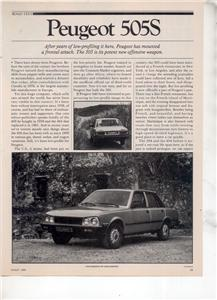 1980  PEUGEOT 505 S 505S ROAD TEST AD 5-PAGE
