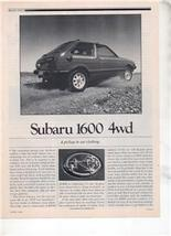 1980 1981 Subaru 1600 4wd Road Test Ad 6-PAGE - $8.99