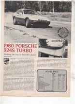 1980 PORSCHE 924S 924 S TURBO ROAD TEST AD 3-PAGE - $8.99