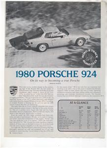 1980  PORSCHE 924 ROAD TEST AD 3-PAGE