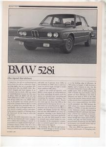1980  BMW 528i 528 i ROAD TEST AD 6-PAGE