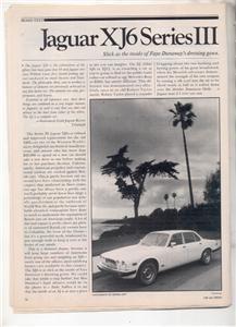1980 JAGUAR XJ6 SERIES III ROAD TEST AD 5-PAGE