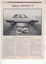 1980 SUBARU 1600 GL5 GL-5 ROAD TEST AD 5-PAGE - $8.99