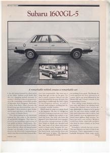 1980 SUBARU 1600 GL5 GL-5 ROAD TEST AD 5-PAGE