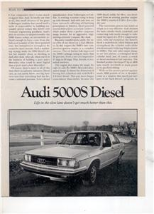 1980 AUDI 5000S 5000 S DIESEL ROAD TEST AD 5-PAGE