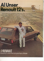 1975 1976 RENAULT 12 BOBBY AL UNSER CAR AD 2-PAGE - $8.49