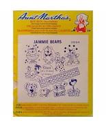 Jammie Bears Aunt Marthas 3894 Vintage Hot Iron Transfer Needlework Pain... - $7.99