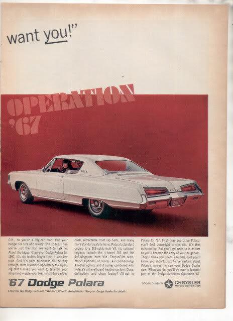 1967 DODGE DART POLARA VINTAGE CAR AD 2-PAGE