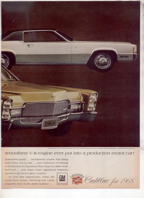1968 CADILLAC ELDORADO FLEETWOOD BROUGHAM CAR AD 2-PG