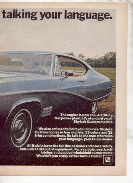 1968 BUICK SKYLARK VINTAGE CAR AD 2-PAGE