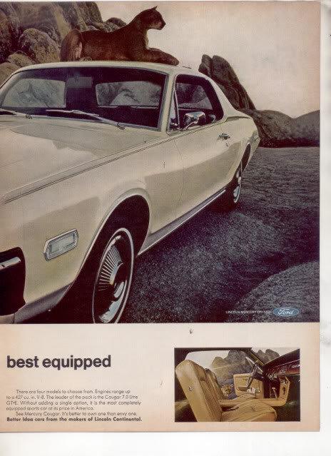 1968 MERCURY COUGAR VINTAGE CAR AD 2-PAGE