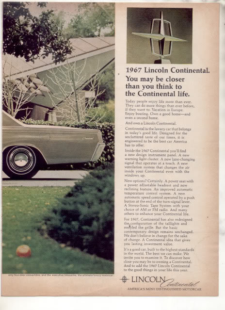 1967 LINCOLN CONTINENTAL VINTAGE CAR AD 2-PAGE