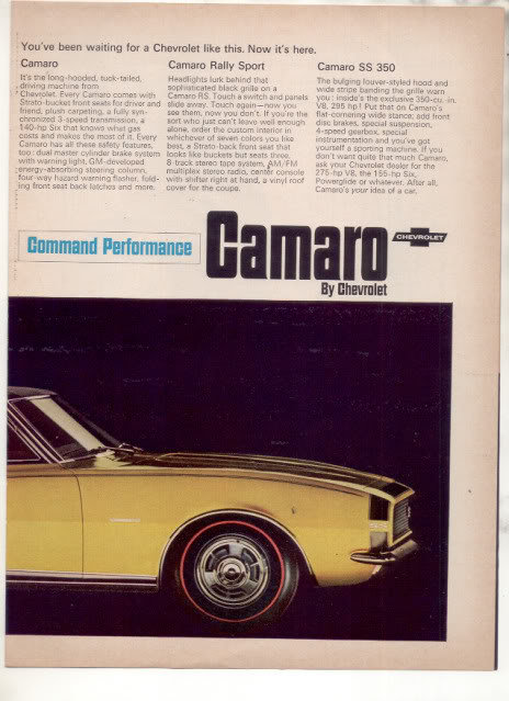 1966 1967 CHEVY CAMARO SS 350 RALLY SPORT CAR AD 2-PAGE