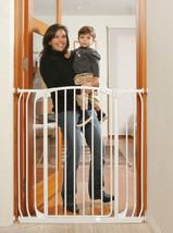 """87""""-91"""" XTall White Auto-Close Adjustable Child, Baby & Pet Safety Gate - $242.99"""