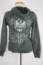 Destruction Gray Graphic Hoodie Zippered Sz Small image 3