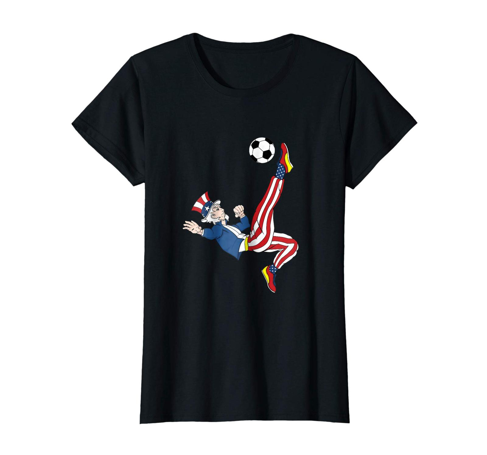 Uncle Shirts -   Uncle Sam Soccer American Flag T-Shirt Patriotic Merica Wowen