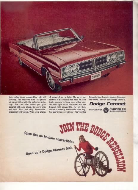 1966 1967 DODGE CORONET VINTAGE CAR AD