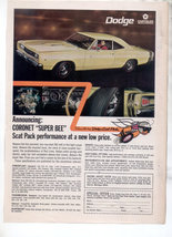 1968 1969 Dodge Coronet Superbee Super Bee Car Ad - $8.99