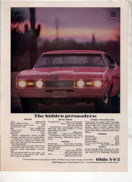 1968 OLDSMOBILE 442 VINTAGE CAR AD THE HIDDEN PERSUADER