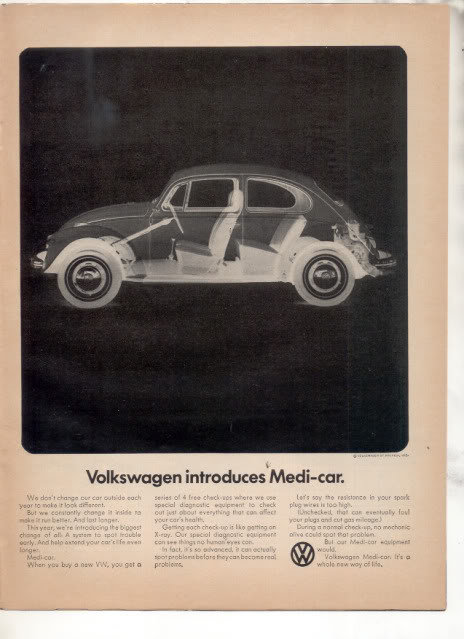 1969 VOLKSWAGEN BUG BEETLE CAR AD MEDI CAR
