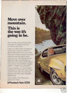 1970 PONTIAC GTO MOVE OVER MOUNTAIN CAR AD 2-PAGE