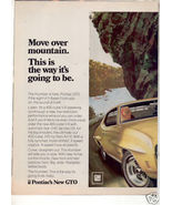 1970 PONTIAC GTO MOVE OVER MOUNTAIN CAR AD 2-PAGE - $11.99