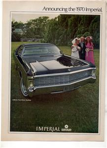 1970 CHRYSLER LEBARON IMPERIAL VINTAGE CAR AD 2-PAGE