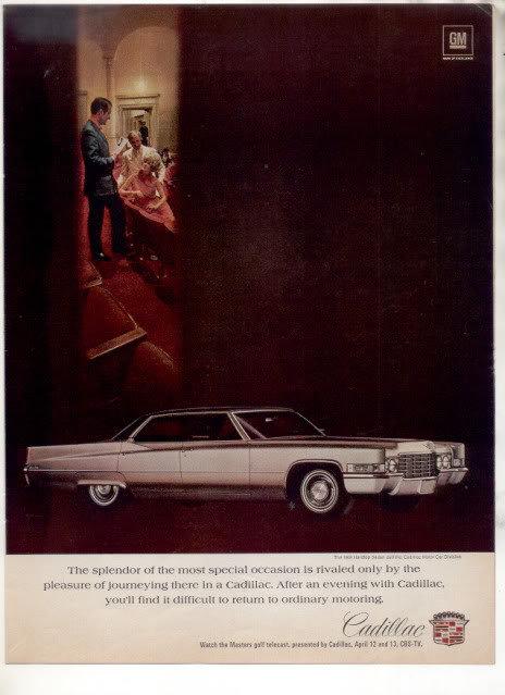1969 1970 CADILLAC SEDAN DEVILLE DE VILLE CAR AD
