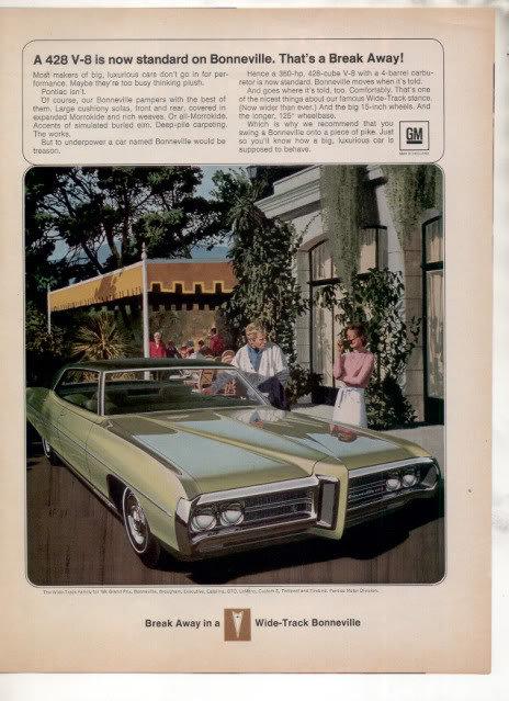 1969 1970 PONTIAC BONNEVILLE 428 VINTAGE CAR AD