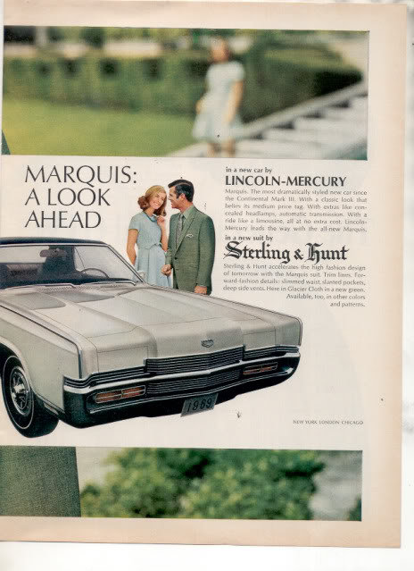 1969 1970 MERCURY MARQUIS STERLING & HUNT CAR AD 2-PG
