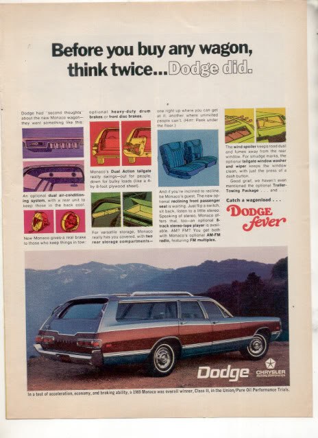 1969 DODGE MONACO WAGON VINTAGE CAR AD