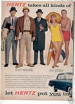 1962 HERTZ RENT A CAR CHEVY IMPALA CAR AD - $8.99