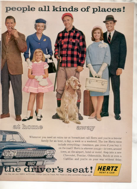1962 HERTZ RENT A CAR CHEVY IMPALA CAR AD