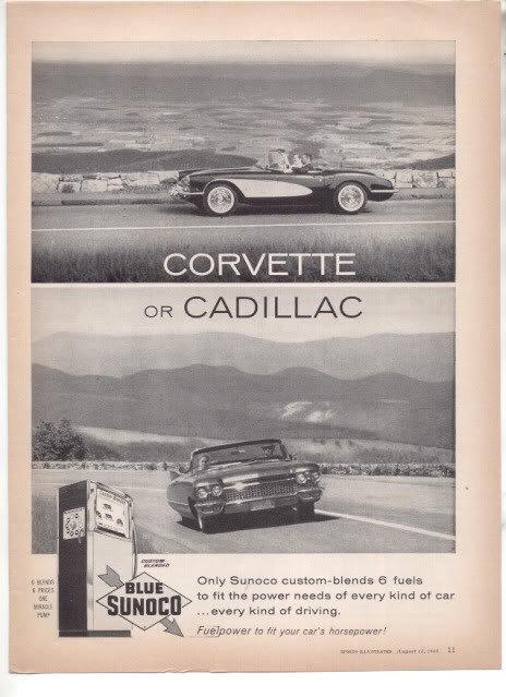 1960 CORVETTE CADILLAC SUNOCO AD