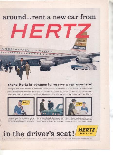 1961 HERTZ CHEVY IMPALA 2-PAGE AD