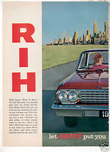 1962 HERTZ IMPALA CAR AD 2-PAGE ATTACHED