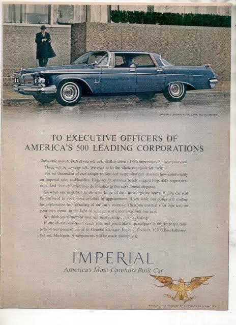 1962 CHRYSLER IMPERIAL CAR AD