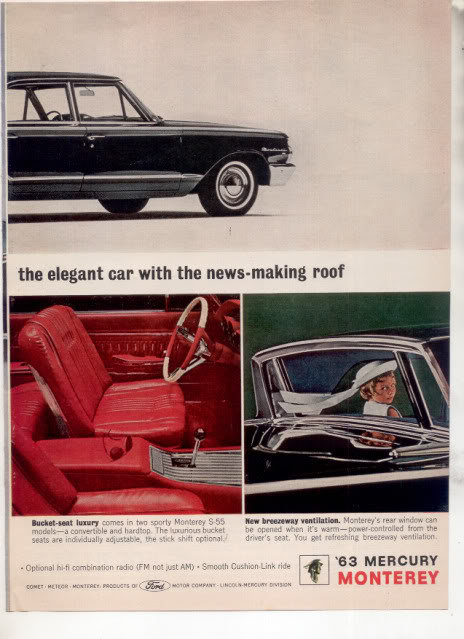 1963 MERCURY MONTEREY CAR AD 2-PAGE